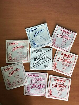 8x Vintage D'Merle D'Angelico Guitar Strings New York Rare Collectable Listing!