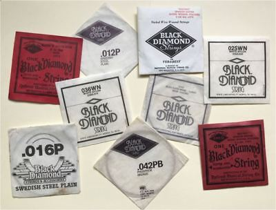 Vintage Black Diamond Assorted Guitar Strings set of Nine! Rare Collectable!