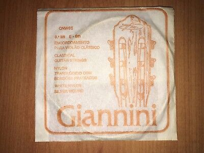 1986 Vintage Giannini Guitar String E6th Silver Wound White Nylon Made in Brazil