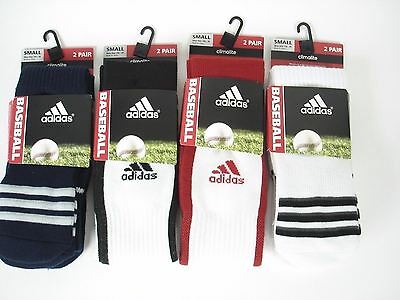 Adidas Men Women 8 Prs Baseball Socks Climalite Cushioned Compression Wht Blk Rd