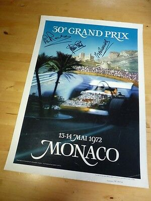 1972 Monaco GP official race poster  signed by Stewart,Pescarolo and Redman.
