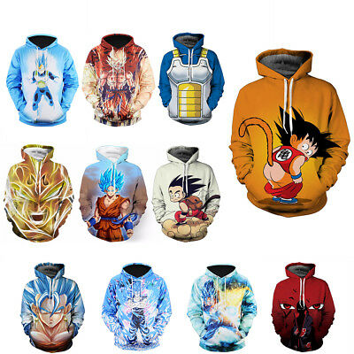 Mens Hoodies Tracksuit Dragon Ball Z Sweater Cosplay Pullover Anime Son Goku