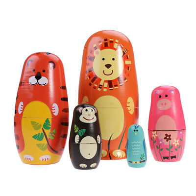 5pcs Cute Nesting Dolls Russian Handmade Wooden Animals Matryoshka Doll Toy Gift