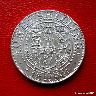 Queen Victoria 1894 Old Veiled Bust Shilling High Collectable Grade.