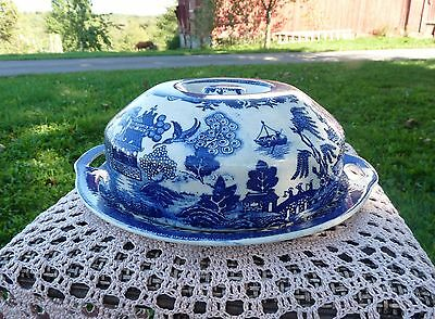 MORIYAMA Asian Blue Willow TWO HANDLE SERVING PLATE w/ WARMING LID Japan