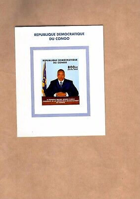 Congo Mnh Imperforated Sheets Normal & Gold Foil President Kabila Issued In 2002