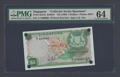 Singapore 5 Dollars ND(1989) P2acs1 Specimen Uncirculated