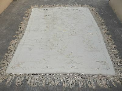 BIG Antique Chinese COVER Embroidered SILK EMBROIDERY Qing DYNASTY