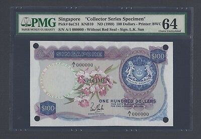 Singapore 100 Dollars ND(1989) P6acs1 Specimen Uncirculated