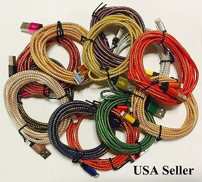 6FT / 10FT Braided USB Charger Cable Data Sync Cord for iPhone 5,6,7,8 Lot