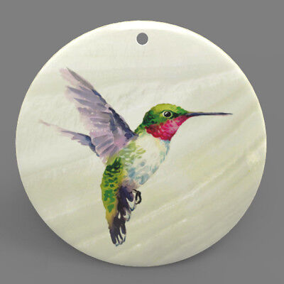Mother of Pearl Shell Hummingbird Color Printing Pendant Necklace J1705 0516