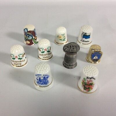 Collectible Thimbles Lot of 9 1970s-1980s Vintage Hearst Castle Mayflower more