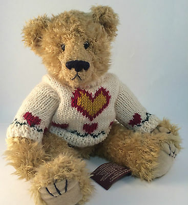 "HEARTLY Sweater TY Bear 1993 Attic Treasure 12"" Jointed"
