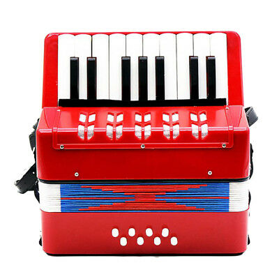 Red Mini Accordion Harmonica Musical Instrument Learning Toy Kids Xmas Gift