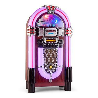 Vintage Jukebox Player Cd Mp3 Usb Sd Slot Led Chrome Decor Vintage Bluetooth Fm