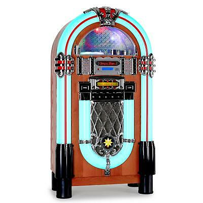 RETRO VINTAGE 1950s STYLE JUKEBOX MUSIC MP3 CD PLAER FM SD USB REMOTE LED AUX