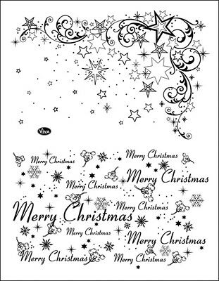 "Viva Decor Silikonstempel ""Weihnachtssterne & Merry Christmas"" Clear Stamp"