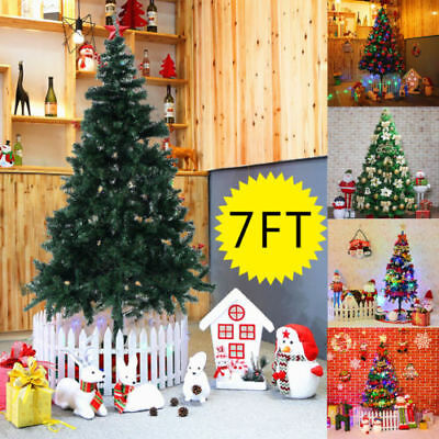 2.1M 7FT Artificial Christmas Tree Green with Metal Stand Xmas Decorations