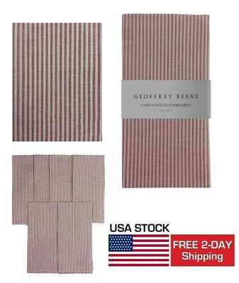 6 Pack Vintage Mens Cotton Handkerchief Pocket Reusable hankie Red White GIFT HQ