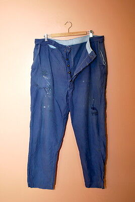 VTG 1940s FRENCH PATCHED CHORE WORKWEAR TROUSERS WORK PANTS.jeans.workwear.hobo