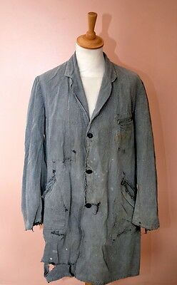 VTG 1940s FRENCH SALT & PEPPER LONG PATCHED CHORE JACKET WORKWEAR.repaired hobo