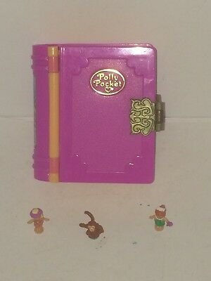 Polly Pocket PINK GLITTER ISLAND BOOK + 2 Figures & Monkey