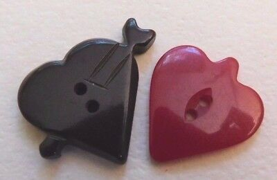 Lot 2 Vintage Heart Bakelite? Buttons Red Brown With Arrow
