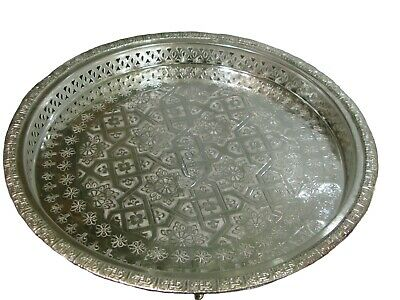 Moroccan tea silver tray -Moroccan tea tray- Moroccan serving tray- Silver tray