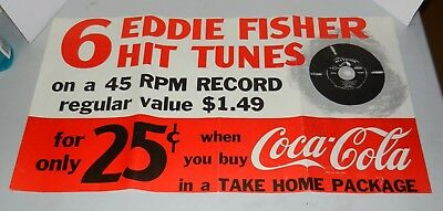 1950s Coca Cola Eddie Fisher 45 Record Advertising Poster