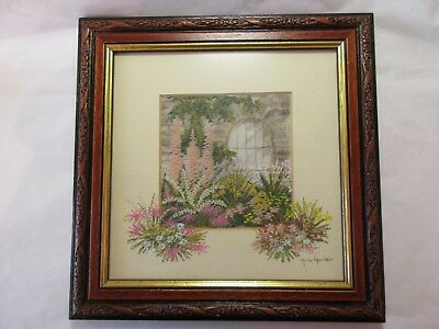 framed and glazed anne harrison picture  (hand painted & embroidered landscapes)