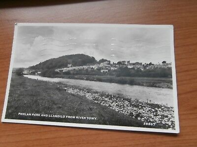 Carmarthenshire Llandeilo and Penlan Park  from River Towy postcard