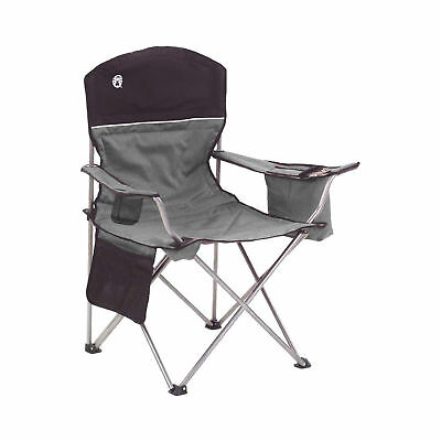 Coleman Over-sized Quad Chair with Cooler and Cup Holder Black Gray 2000020256