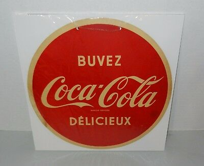 Vintage 1950s French Canadian Coca Cola Cardboard Button Hanging Sign Nice!