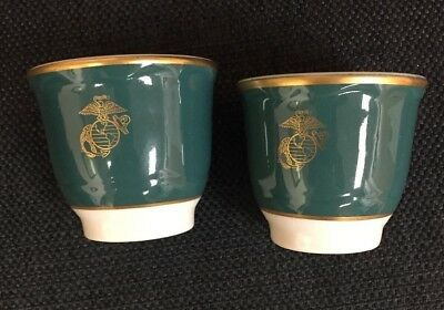 Usmc Pair Of Egg Cups Marines Corps General Officer Rare