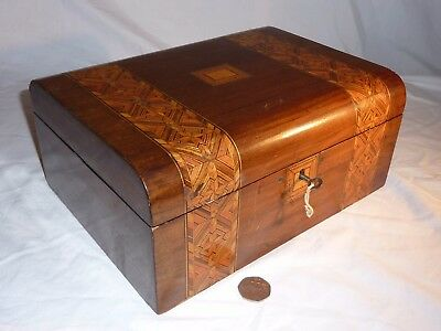 Antique Tunbridge Ware Jewellery Sewing Box With Key For Restoration Vintage Old