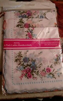 New 6 pack of ladies white multi floral print handkerchiefs, Christmas Gifts