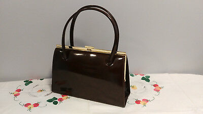 Vintage 1950s/60s Brown Patent Faux Leather Kelly Style Handbag (Elbief stamp)