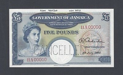 Jamaica 5 Shillings 4-7-1960 P48s Specimen Perforated Uncirculated