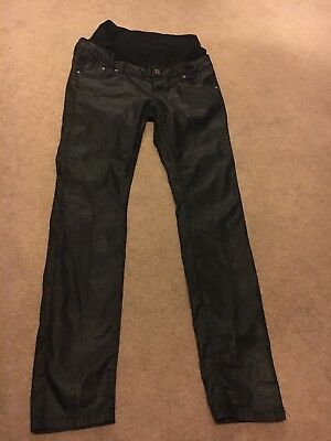 Size 10/12 Leather Look Skinny Jeans/Trousers Maternity Over Bump