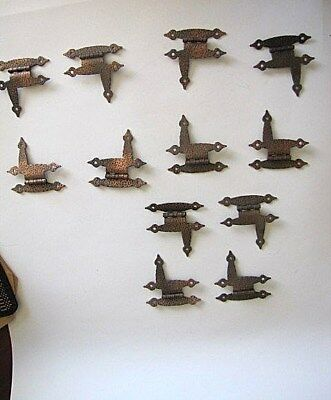 Mid Century Rustic Hammered Copper Cabinet Hinges 'L' Lot of 12