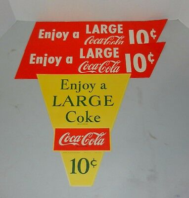 Lot of 3 Vintage 1950s Large Coca Cola Paper Signs 10 Cents Nice!