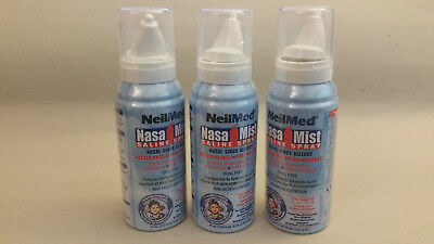Lot of 3 (three) NeilMed Nasa Mist Saline Spray air travel size