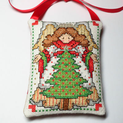"Finished completed  ""ANGEL"" cross stitch Christmas Ornament"