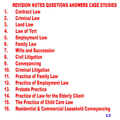 Law Revision Notes All subjects listed with past Q & A Fast Digital Download