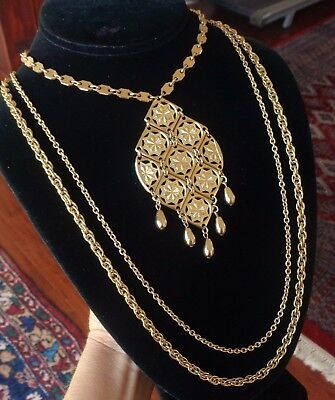 Vintage Necklace 1970's Huge Filigree Mid Century Modern Articulated Pendant