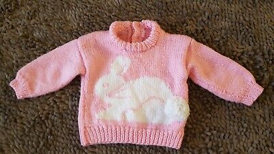 Vintage*Pink Bunny Sweater*Baby Girl 0-3m*EVC