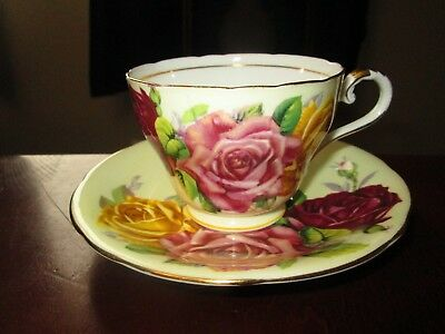 Vintage Aynsley Cabbage Roses Cup and Saucer Set Yellow Pink Red