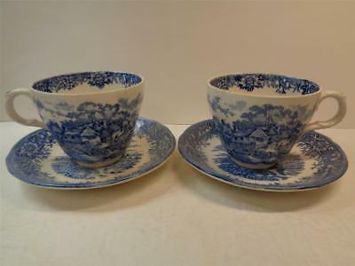 2 OLDE STAFFORDSHIRE English Village By Salem China Ironstone Cup & Saucer Sets