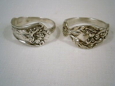 2 Handmade Sterling Or Silver Plated Vintage Flatware Napkin Rings