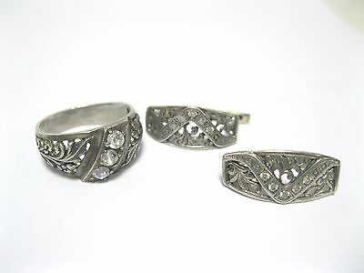 NICE SET earrings ring SILVER 925 Ukraine USSR 6.88 g  size 5.5 - 6